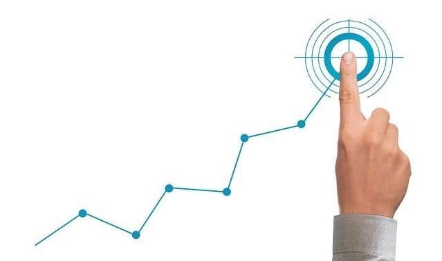 人差し指と折れ線グラフ